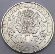 Suede 2 Kronor Oscar II 25 eme anniversaire du Règne 1872-1897 argent #682