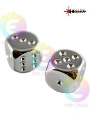 Set 2 Dadi D6 16mm Color ARGENTO Placcato CHESSEX plated Sei Facce D&D RPG 29007