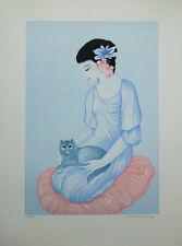 TRAN-LONG Mara : Geisha au chat - LITHOGRAPHIE signée/numérotée #600ex #JAPON