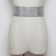 Wide Elastic Band Women's Accessory Waist Belt Waist Seal Shiny Metal Button BS