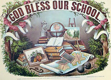 God Bless Our School Globe Books Map 1952 Color Lithograph Currier Ives Print