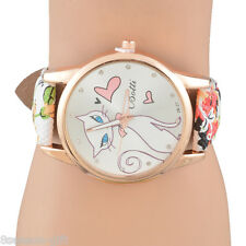 Lovely Cute Cat Watches Womens Girls Floral Print Leather Quartz Wristwatches