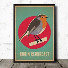 Robin Redbreast Birds Vintage Retro Style Nature Poster Print