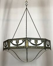 Antique Arts & Crafts Slag Glass Hanging Ceiling Light Fixture Chandelier
