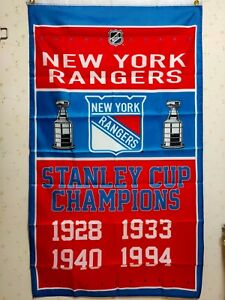 New York Rangers Stanley Cup Champions Flag 3X5 FT NHL Banner Polyester