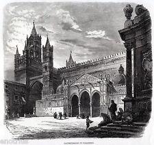 PALERMO: Facciata delDuomo. Costumi. Sicilia. Trinacria. Stampa Antica. 1876