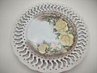 28.  Hanging Decorative Plate with Yellow Roses and Cutouts 12.75 inches across