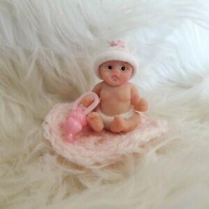 Cute handmade Baby Girl miniature dollshouse Ooak Polymer clay full sculpt doll
