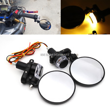 "Black Bar End Mirrors Motorcycle Rear View Turn signals 7/8"" Kawasaki Suzuki KTM"
