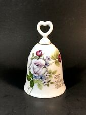 """Vintage white porcelain bell with heart shaped handle """"To Mother With Love"""""""
