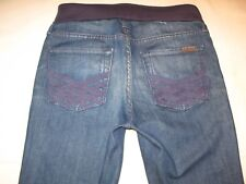 7 for all Mankind Maternity Jeans Sz 27 High Waist Bootcut Distressed w Stretch