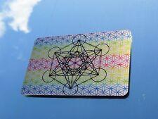 """LUCKY 'Metatron Cubo & MC Fiore della vita """"WALLET inserire arte su metallo 8.5x5.5cm"""