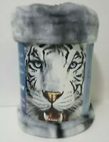 "Royal Plush Raschel Blanket Soft throw white/gray tiger 50"" x 60"" / 127x152cm"