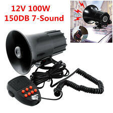 12V 100W 150DB Car Truck 7 Sound Loud Warning Alarm Siren Horn PA Speaker System