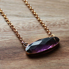 Gold Semi-Precious Natural Faceted Amethyst Oval Gemstone Pendant