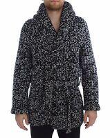 NEW $3900 DOLCE & GABBANA Sweater Cashmere Black White Knitted Cardigan IT48 / M
