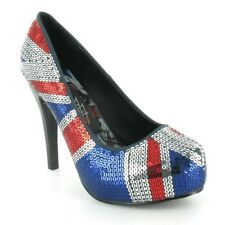 Iron Fist Union Jack Flag Platform Heel Shoes Size 5