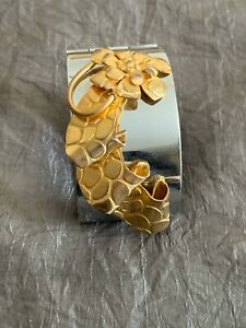 Vintage French Artisan Bracelet - Gold Flower & ribbon on silver tone cuff