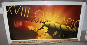"1998 Nagano Japan Winter Olympics CBS Poster 21.5"" X 39.5"