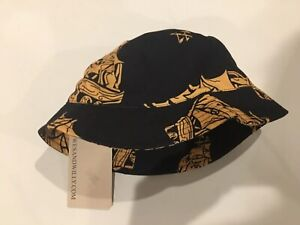 Wes And Willy Infant Bucket Hat Black And Orange Pirate Ship