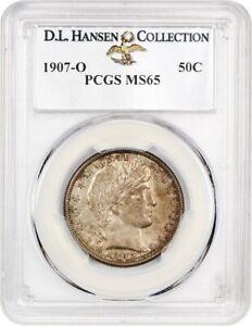 1907-O 50c PCGS MS65 ex: D.L. Hansen - Slightly Better Date - Barber Half Dollar