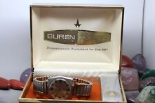 Vintage Buren 17j Hand Wind All Stainless Steel Men's Wrist Watch Running w/ Box
