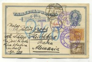 Costa Rica TAXED UPRATED POSTAL CARD TO Heidelberg Germany 1922
