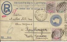 Gold Coast Registered Postal Envelope HG:C5 uprated SG#27(x2)#26 ADDA