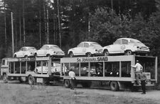 SAAB 95 & SAAB 96 rally racing cars w. Scania truck - Finnish Saab rally team
