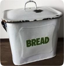Vintage Enamel Bread Bin - Shabby Rustic Kitchen Storage - 1930s - White & Green