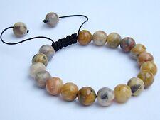 Men's bracelet all 10mm Natural Gemstone Crazy Agate beads