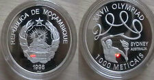 1998 Mozambique Large Silver Proof 1000 Meticais- Olympic