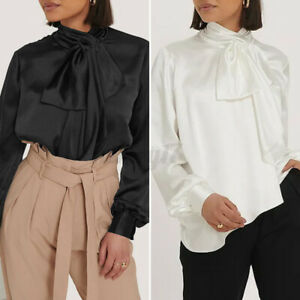 Womens Button Pussy Bow Satin Blouse Work Party Shirt Long Sleeve Tops Plus Size