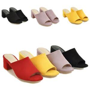 Womens Peep Toe Block heels Faux Suede Slippers Med Heels Summer Shoes Sandal sz