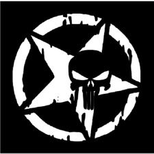 "DISTRESSED PUNISHER STAR Large Stencil Template Airbrush Paint  8 1/2"" X 8 1/2"""