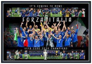 ITALY EURO 2020 2021 CHAMPIONS ITALIA POSTER LIMITED EDITION FRAMED MEMORABILIA