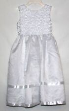 Pre-owned Jayne Copeland Girls Dress Size 7 Soutache Flower Organza Overlay