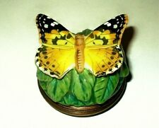 Halcyon Days Enamel Box - Yellow Painted Lady Butterfly Bonbonniere - Leaves