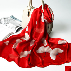 100% Silk mulberry Scarf Women neckerchief Shawl Wrap floral red gray SJ40-09