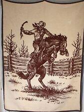 Vtg Bucking Bronco Cowboy Horse Blanket Bedspread Reversible Biederlack Ibena