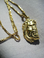 """18k solid yellow gold Jesus Face pendant + 18k necklace 18.5"""""""