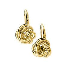 14KT Yellow Gold Leverbacks Love Knot Ball Polished Shiny Earring........NEW