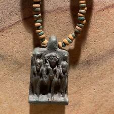 Egyptian necklace - Harpocrates statue amulet beaded necklace