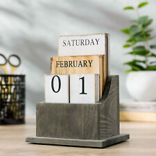 Mygift Vintage Solid Wood Block Rustic Desktop Perpetual Calendar Desk Accessory