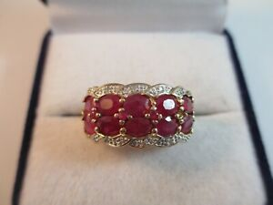 STUNNING PRE-OWNED, 9ct GOLD RUBY & DIAMOND STATEMENT RING UK SIZE N1/2  4.4g