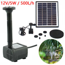 Solar Water Pump 12V 5W 500L/H Powered Submersible Kit Garden Pool Pond Fountain