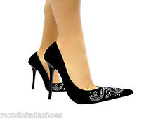 MORI ITALY POINTY PUMPS HIGH HEELS SEXY SCHUHE CRYSTAL LEATHER BLACK NERO 45