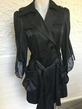Unusual Ladies Black Silky Trench Coat with Large Pockets & 3/4 Sleeves Size S