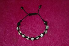 Unusual white crystal ball and hematite Shambala friendship style bracelet