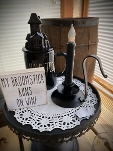 HOCUS POCUS 🕯Black Flame Candle With Metal Stand. Replica. HALLOWEEN